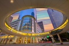 Houston Downtown solnedgångskyskrapor Texas Fotografering för Bildbyråer