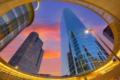 Houston Downtown solnedgångskyskrapor Texas Royaltyfri Fotografi