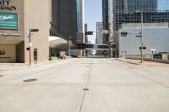 Houston downtown street buildings  traffic light stock photography
