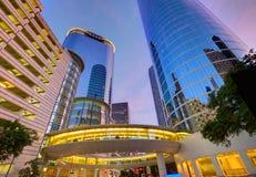 Houston Downtown-zonsondergangwolkenkrabbers Texas royalty-vrije stock afbeeldingen