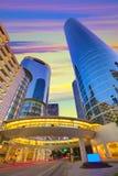Houston Downtown-zonsondergangwolkenkrabbers Texas royalty-vrije stock fotografie