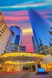 Houston Downtown-zonsondergangwolkenkrabbers Texas stock fotografie