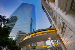 Houston Downtown-zonsondergangwolkenkrabbers Texas royalty-vrije stock foto
