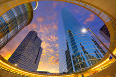 Houston Downtown-zonsondergangwolkenkrabbers Texas stock foto's