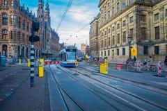 HOUSTON, EUA 10 DE MARÇO DE 2018: A vista exterior lindo do bonde de Amsterdão é uma rede que do bonde foi operada perto Fotografia de Stock Royalty Free