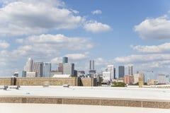 Houston från motorvägen som rusar trafik arkivfoto