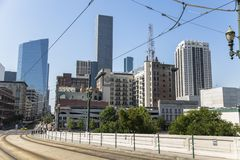 Houston downtown street tranvia caf stock photography