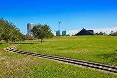 Houston Hermann-Park Eisenbahn und Miller Theatre stockbild