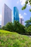 Houston horisont från lugn parkerar i Texas USA royaltyfria foton