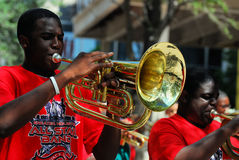 Houston Juneteenth Parade. Members of the Greater Houston All-Star Band performs during the National Emancipation Association 36th Annual Juneteenth Parade which Royalty Free Stock Photo