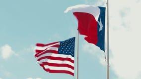 Houston, le Texas Etats-Unis - 15 juin : Drapeau américain flottant dans le vent banque de vidéos