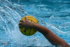 HOUSTON, LE TEXAS, LE 24 SEPTEMBRE 2016 : Natation de joueur de polo d'eau avec la boule Photos stock