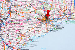 Houston Map. Red pin showing Houston, Texas as the destination Royalty Free Stock Images