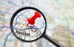 Houston map. Closeup of a Houston, Texas map with red pin and magnifying glass Stock Photography