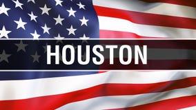 Houston miasto na usa flagi tle, 3D rendering Zlani stany Ameryka zaznaczają falowanie w wiatrze Dumny flagi amerykańskiej falowa royalty ilustracja
