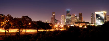 Houston Night Panorama arkivbilder