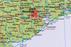 Houston no mapa fotografia de stock