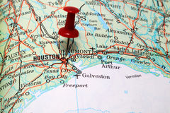 Houston no mapa Foto de Stock