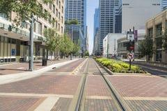 Houston od ulicy przy śródmieściem obrazy stock