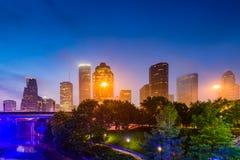 Houston Park and Skyline Stock Photo