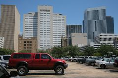 Houston from parking lot Stock Images