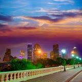 Houston-Skyline bei Sonnenuntergang Sabine St Texas USA lizenzfreie stockfotos