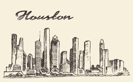 Houston skyline big city vector illustration drawn Royalty Free Stock Images