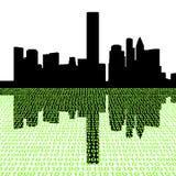 Houston skyline with binary Royalty Free Stock Photos