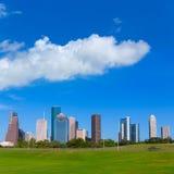 Houston skyline blue sky Memorial park Texas US Royalty Free Stock Photos