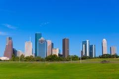 Houston skyline blue sky Memorial park Texas US Stock Photos
