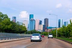 Houston skyline from Buffalo Bayou Pkwy Texas US Stock Photos