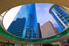 Houston skyline cityscape from Bell St in Texas US. USA Royalty Free Stock Photography
