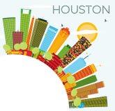 Houston Skyline com construções da cor, o céu azul e o espaço da cópia ilustração stock