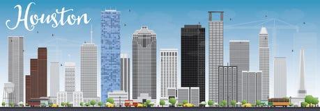 Houston Skyline com Gray Buildings e o céu azul ilustração stock