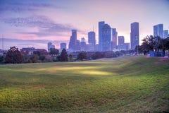 Houston-Skyline an der Dämmerung Stockfotografie