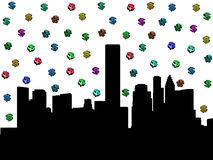 Houston skyline with dollar symbols. Houston skyline with colourful dollar symbols illustration Stock Images