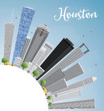 Houston Skyline with Gray Buildings and Blue Sky. Royalty Free Stock Image