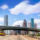 Houston skyline at Gulf Freeway I-45 Texas US Stock Images