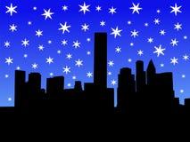 Houston-Skyline im Winter lizenzfreie abbildung