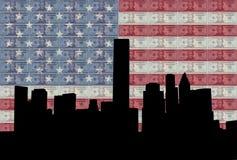 Houston-Skyline mit Markierungsfahne stock abbildung
