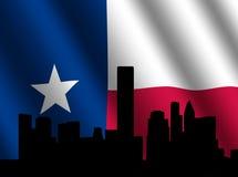 Houston-Skyline mit Texanmarkierungsfahne lizenzfreie abbildung