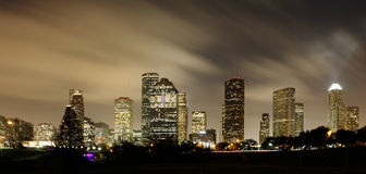 Houston Skyline at night. With beautifully lighted clouds Stock Photo