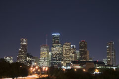 Houston Skyline at Night. The skyline of Houston, Texas on a clear night Royalty Free Stock Images