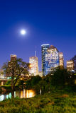 Houston skyline at night from Lindsy park Stock Photos