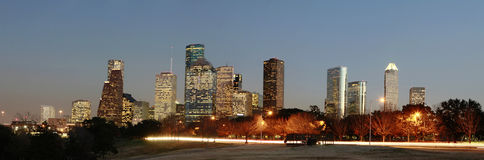 Houston Skyline at Nightfall. With Allen Parkway in the foreground Royalty Free Stock Image