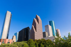 Houston skyline North blue sky at Texas USA Stock Images