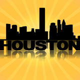 Houston skyline reflected with sunburst Royalty Free Stock Photos