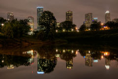 Houston Skyline Reflecting on the Buffalo Bayou at Night Stock Images