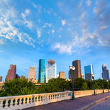 Houston skyline from Sabine St bridge Texas US Royalty Free Stock Photography