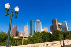 Houston skyline from Sabine St bridge Texas US Stock Images